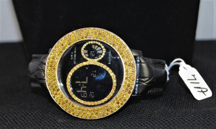 Scarce Quot Johnny Dang Quot Large Dial Wristwatch With Treated Yell