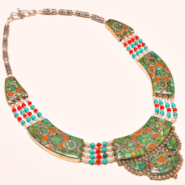 turquoise and coral 925 silver tibetan necklace