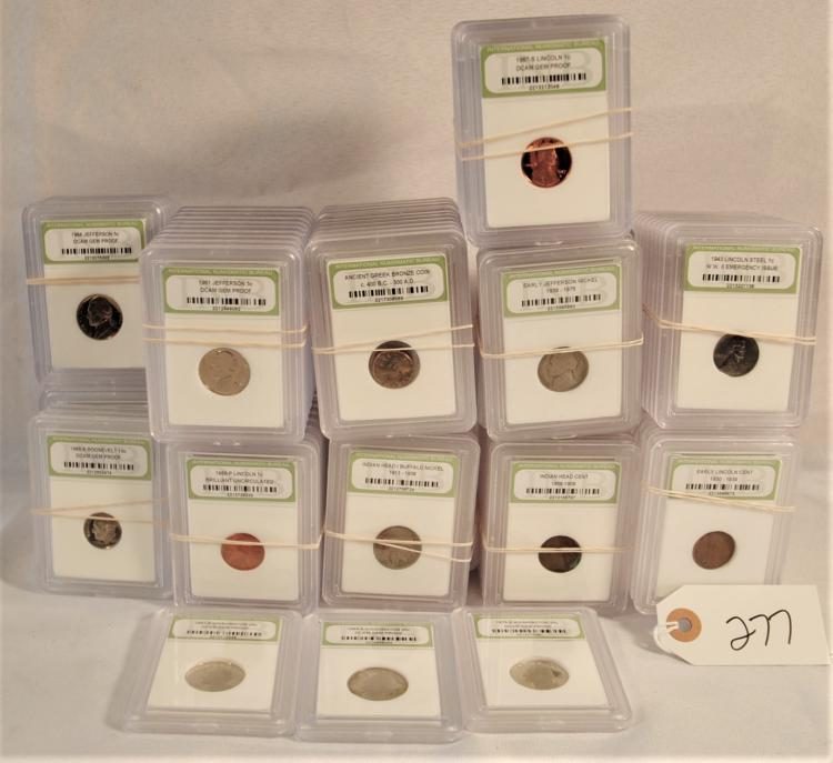 VARIETY OF 108 CARDED COINS FROM SAFE DEPOSIT