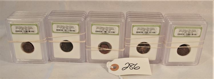 25 CARDED NEW WORLD PIRATE ERA BRONZE COINS