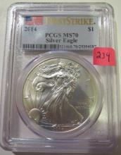2014 American Silver Eagle - PCGS MS70 with some milk spots