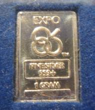 1986 Canada Expo .999 One Gram Fine Silver Ingot in Original Booklet