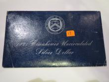 1971S Eisenhower Silver Dollar - Blue Envelope