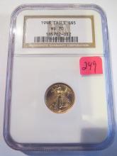 1998 America 1/10 oz Gold Eagle - NGC MS70