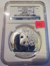 2011 China 1oz .999 Silver Panda - NGC MS69