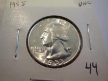 1955 Washington Silver Quarter - UNC