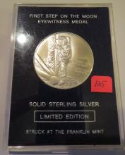 Franklin Mint First Step On The Moon 1969 Solid Sterling Silver Eyewitness Medal