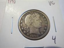 1892 Barber Silver Quarter - VG - First Year