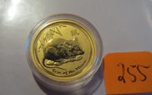 2008 Australia 1/20 oz .9999 Gold Year of the Mouse - BU