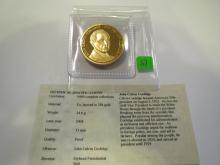 Calvin Coolidge Medal w/ Gold Overlay