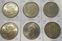 Eisenhower Dollars: 1971D, 1972, 1972D, 1976, 1976D & 1978D