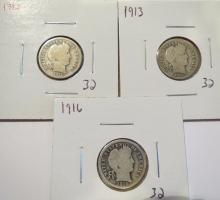 Barber Silver Dimes 1912, 1913 & 1916