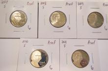 Jefferson Nickels Proof 2007S, 2008S, 2009S, 2010S & 2011S