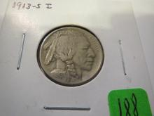 1913S Type 1 Raised Ground Buffalo Nickel