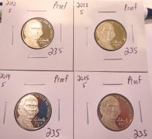 Jefferson Nickels Proof 2012S, 2013S, 2014S & 2015S