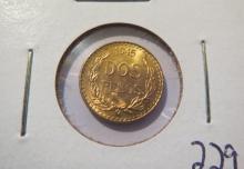 1945 Mexico Dos Pesos Gold - UNC