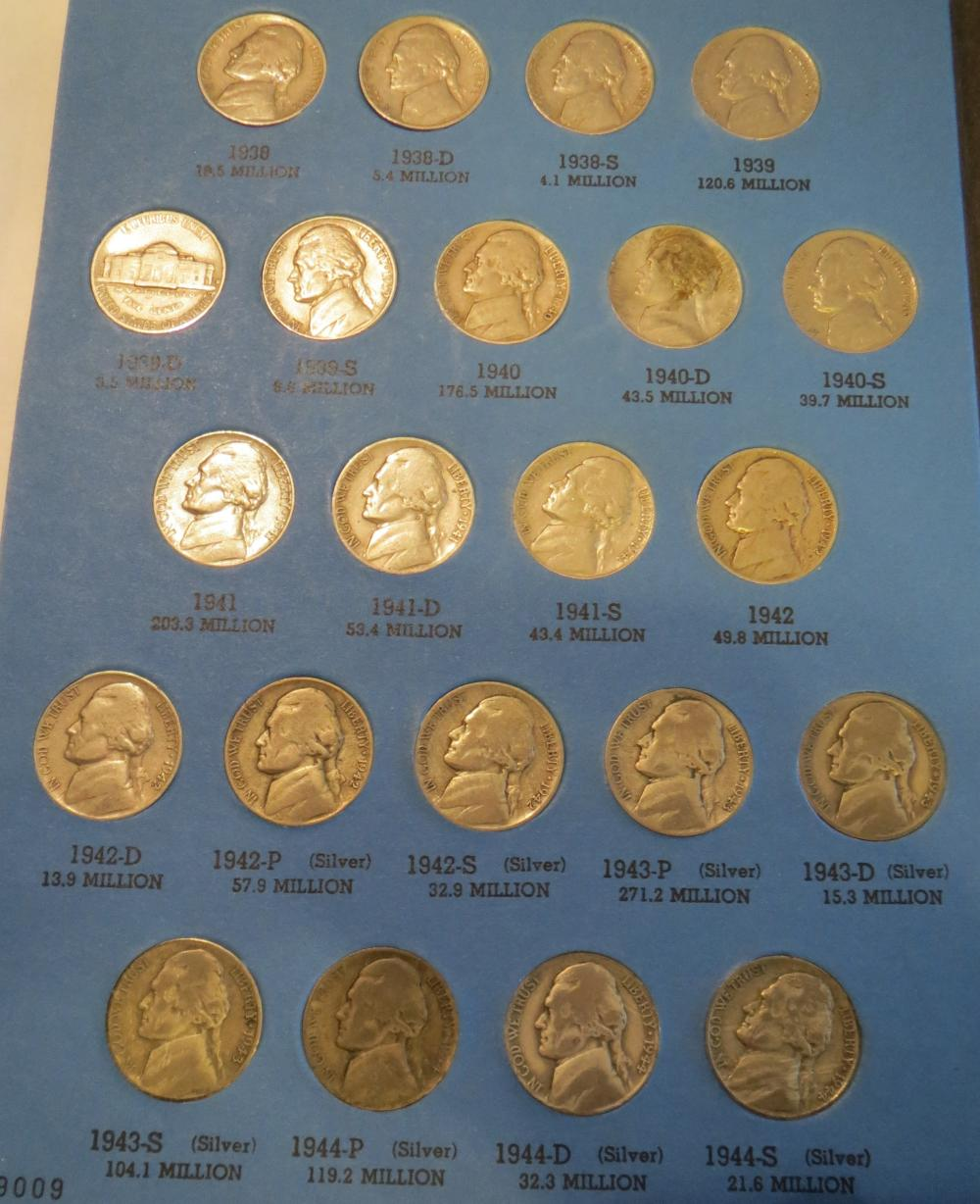 All silver war coins 1 Jefferson Nickel Collection 1938-1961 Complete Set