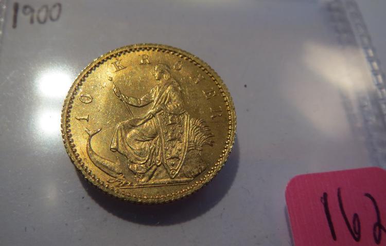 1900 Denmark Gold 10 Kroner .1296 AGW