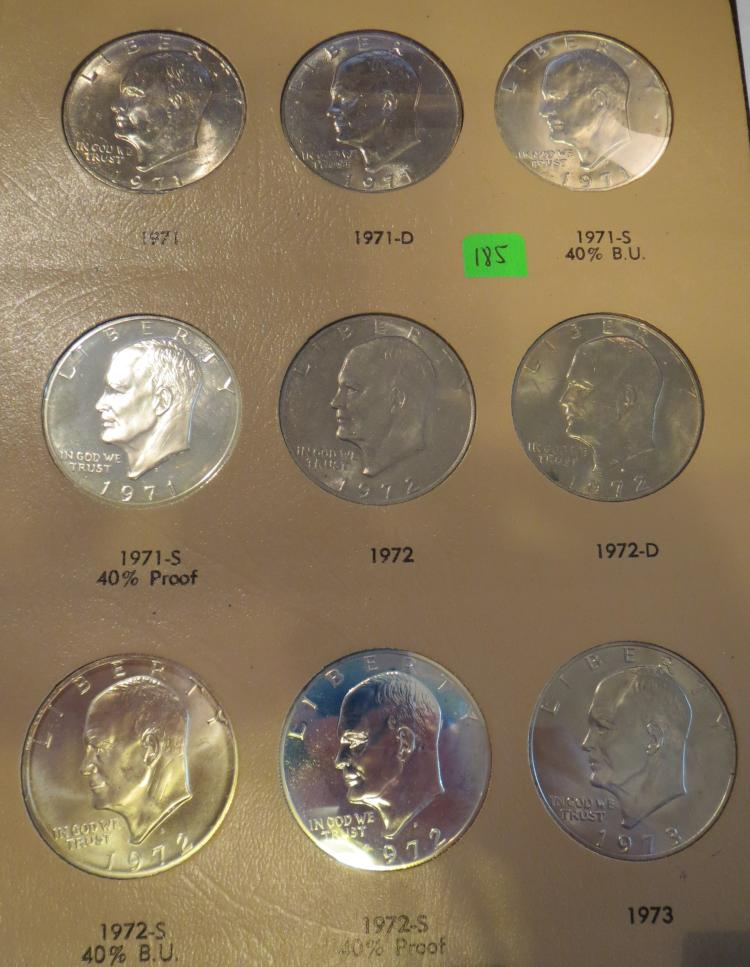 1971-78 Eisenhower Dollar Set including Silver & Proofs w/Dansco Coin Album