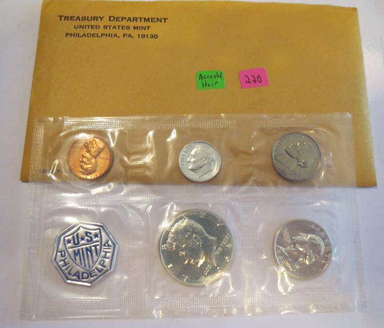 1964 US Silver Proof Set w/ Accented Hair Kennedy Half Dollar