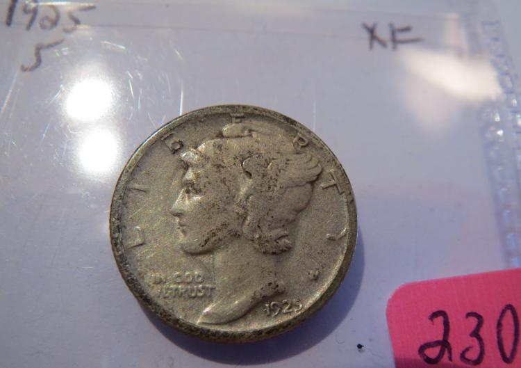 1925S Mercury Silver Dime - XF