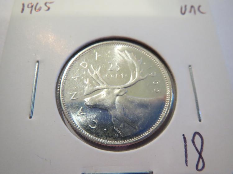 1965 Canada Silver Quarter- UNC