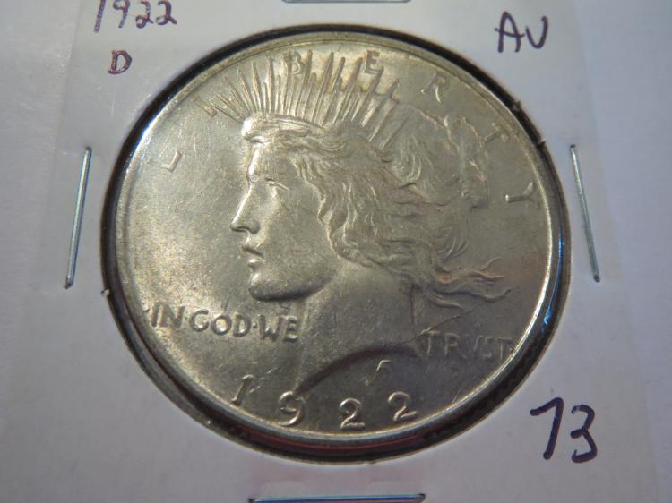 1922D Peace Silver Dollar - AU