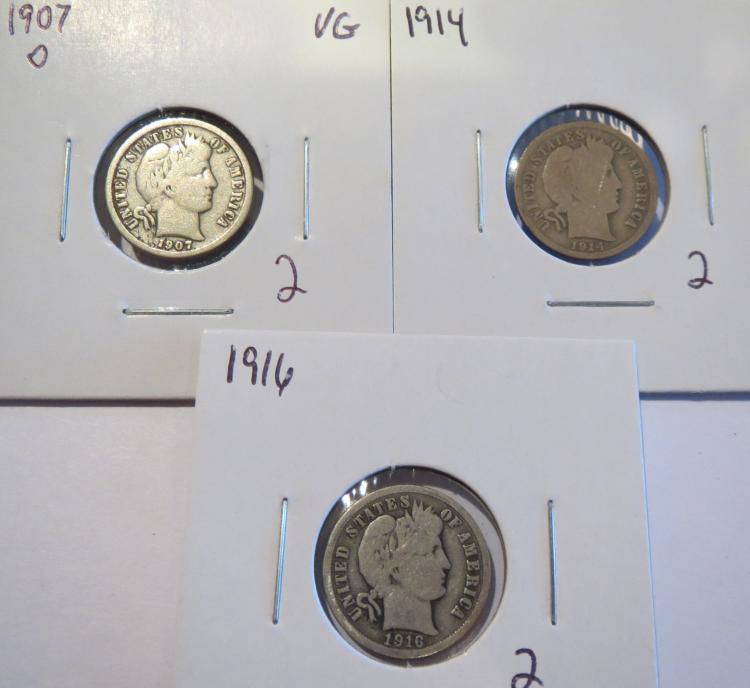 Barber Silver Dimes 1907O, 1914 & 1916