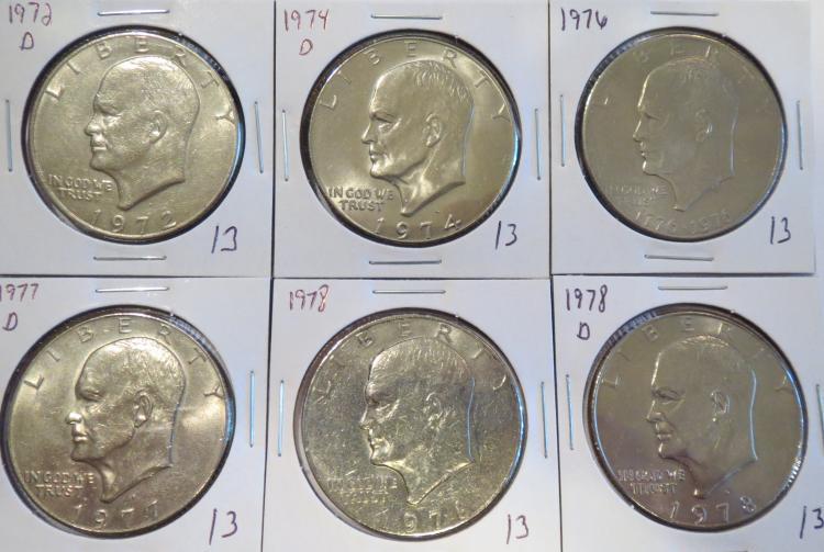 Eisenhower Dollars: 1972D, 1974D, 1976, 1977D, 1978 & 1978D
