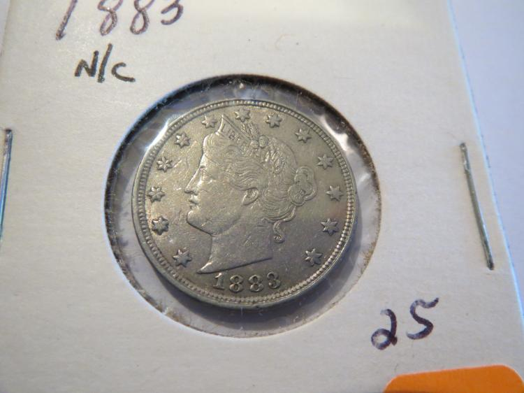 1883 No Cents Liberty Nickel - XF