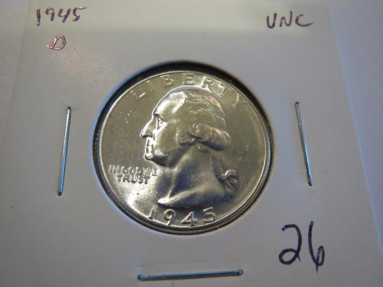 1945D Washington Silver Quarter - BU