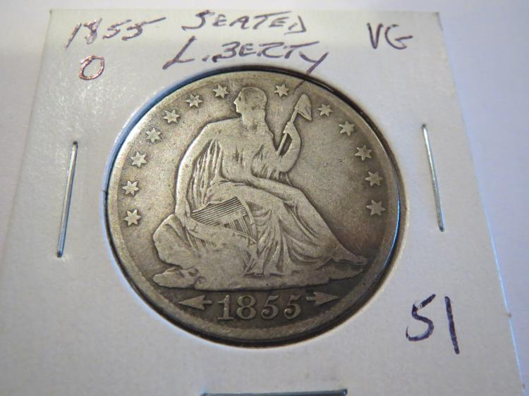 1855O Seated Liberty Half Dollar - VG