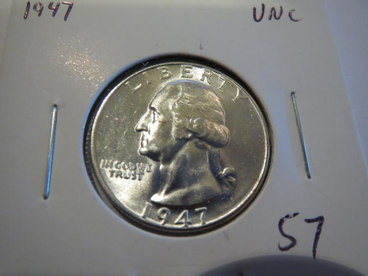 1947 Washington Silver Quarter - UNC