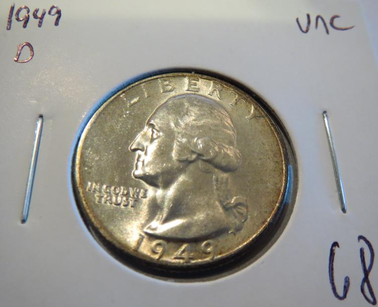 1949D Washington Silver Quarter - UNC