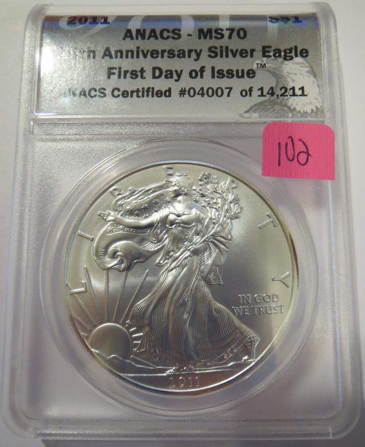 2011 American Silver Eagle - ANACS MS70