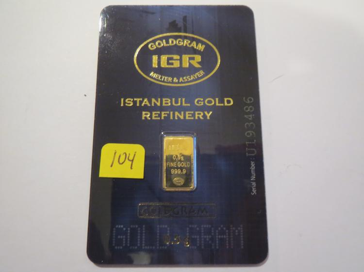 .5 gram .999 Gold Istanbul Gold Refinery (IGR) Bar - In Assay Card