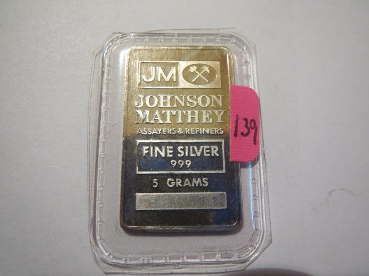 Johnson Matthey .5 Grams .999 Silver Bar