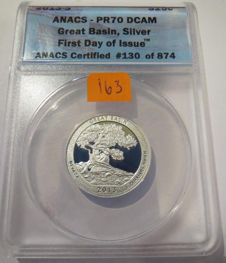 2013S Great Basin Silver Quarter - ANACS PR70