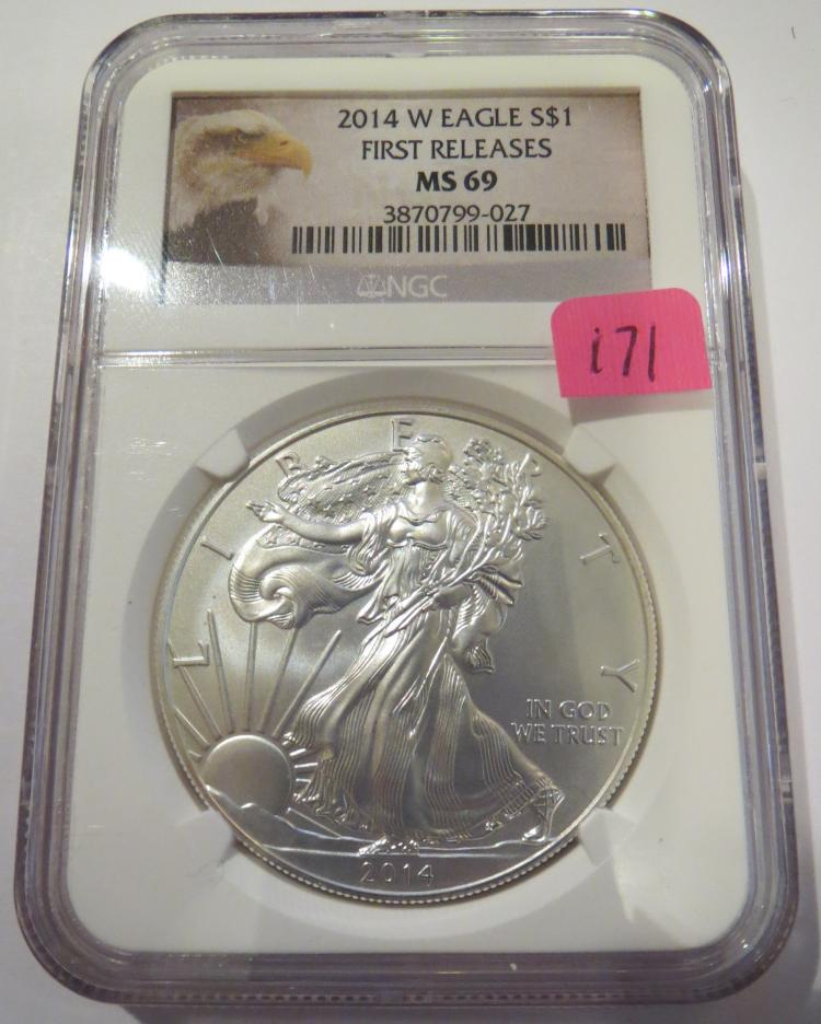 2014W American Silver Eagle Burnished - NGC MS69