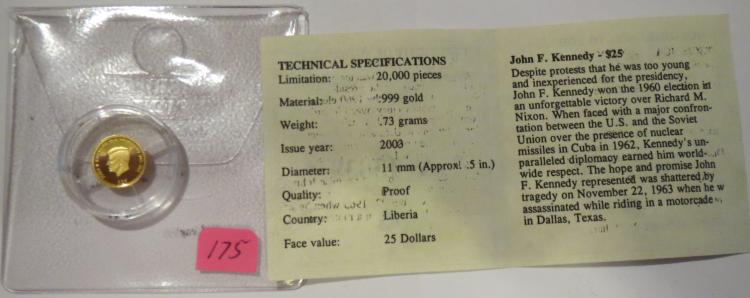 2003 John Kennedy $25 Liberia .999 .73 Grams Gold
