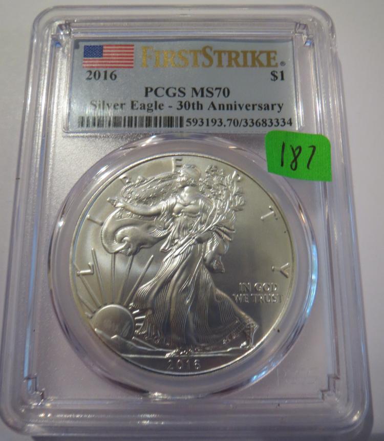 2016 American Silver Eagle - PCGS MS70 30th Anniversary