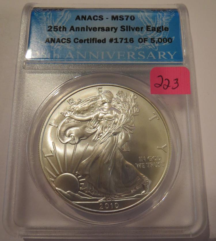 2010 American Silver Eagle - ANACS MS70 25th Anniversary