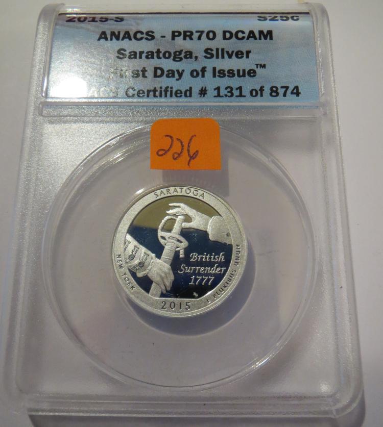 2015S Saratoga Silver Quarter - ANACS PR70