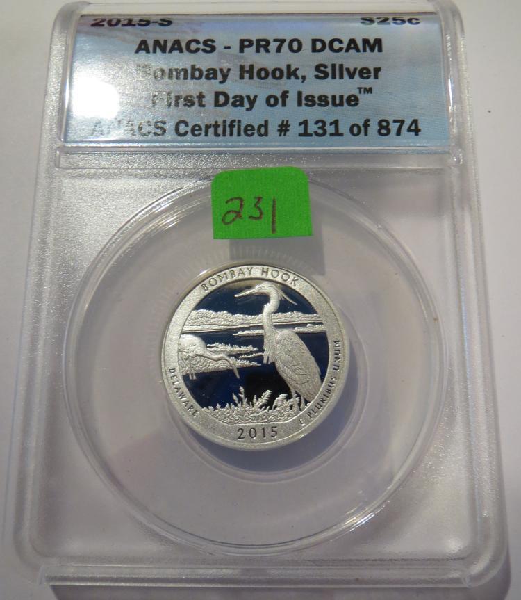 2015S Bombay Hook Silver Quarter - ANACS PR70