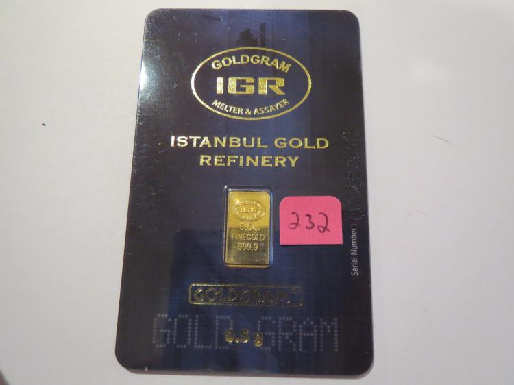.5 gram .999 Gold Istanbul Gold Refinery (IGR) Bar - In Original Assay Card