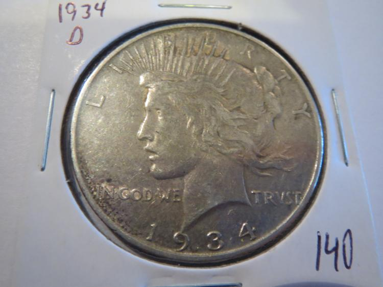 1934D Peace Silver Dollar - Semi key