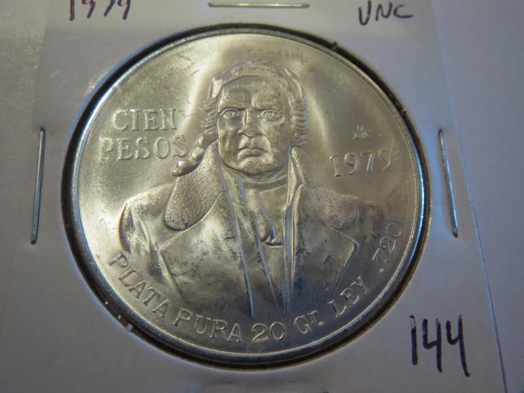 1979 Mexico Cien 100 Pesos Silver - UNC