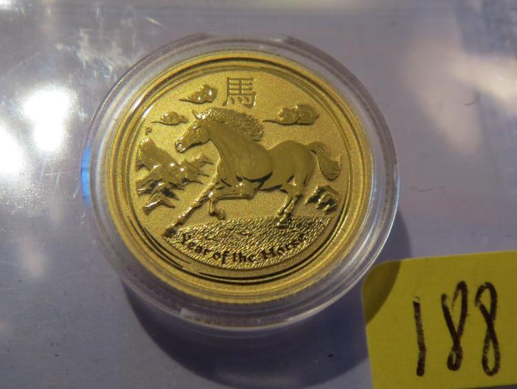 2014 Australia Year of the Horse 1/10 Oz .9999 Gold - Original Holder