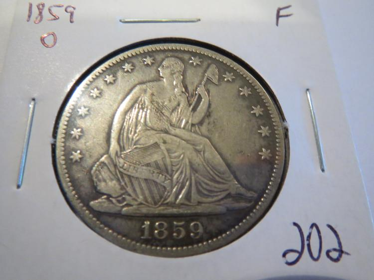 1859O Seated Liberty Half Dollar - F contact marks