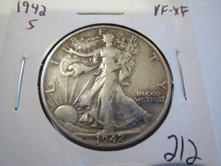 1942S Walking Liberty Half Dollar VF-XF